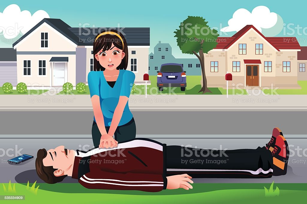 Teenager giving a CPR to a middle aged man vector art illustration