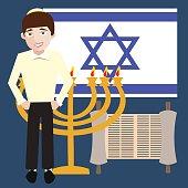 teenager jewish boy with israel symbols, flag, menorah, torah sc