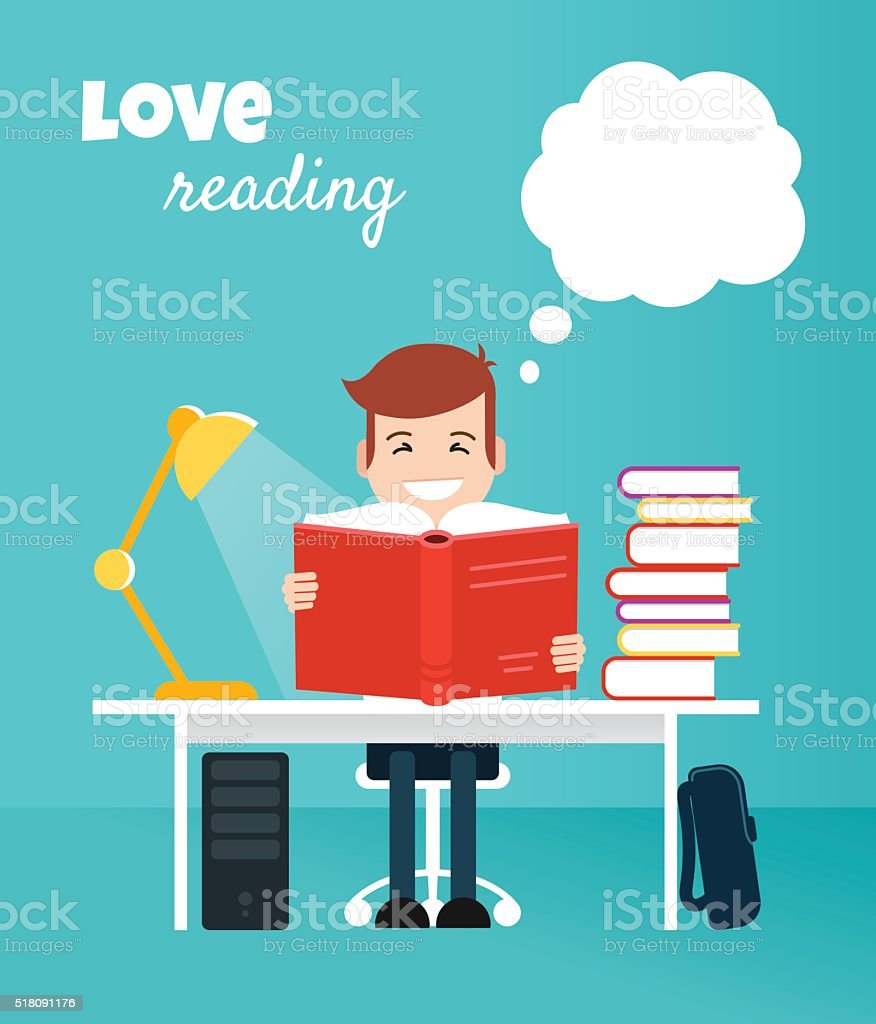 Teenager reading book and learning vector art illustration