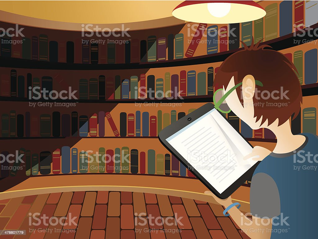 Teenager reading electric device vector art illustration