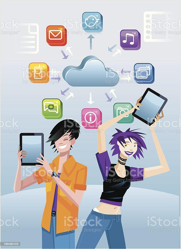 Teenagers And Digital Tablets royalty-free stock vector art