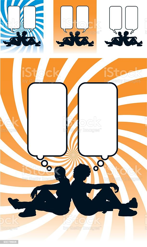 Teenagers facing opposite directions royalty-free stock vector art