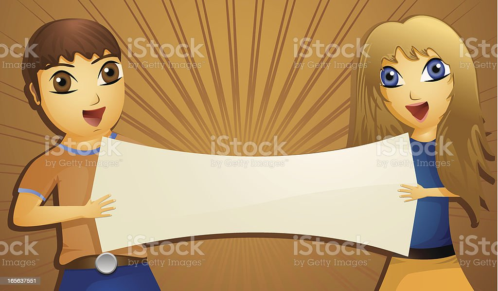 Teenagers holding blank sign or poster vector art illustration
