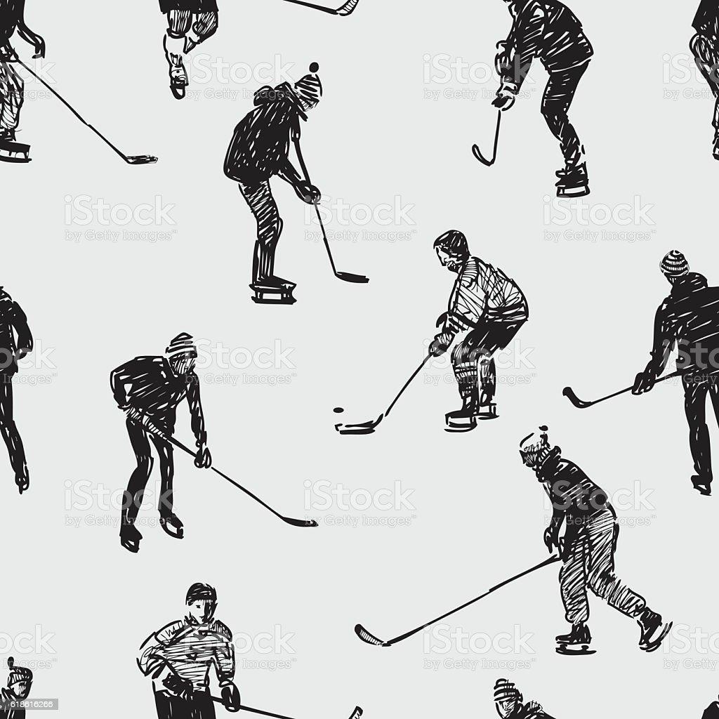 Teenagers playing hockey vector art illustration