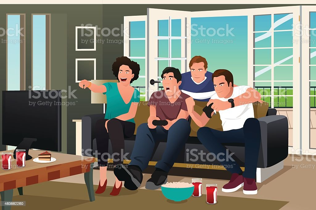 Teenagers Playing Video Game vector art illustration