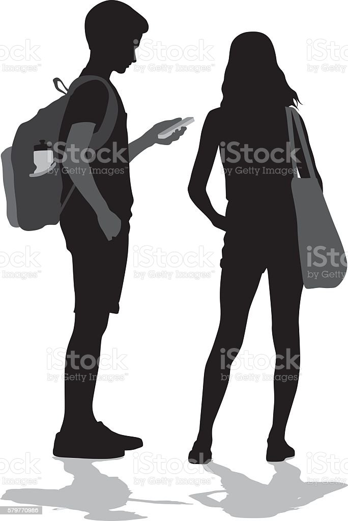 Teenagers Socializing In Person And With Technology vector art illustration