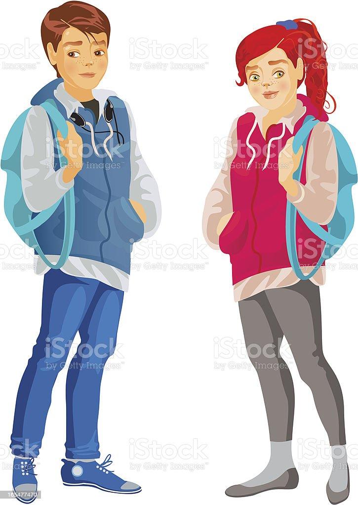 teenagers vector art illustration