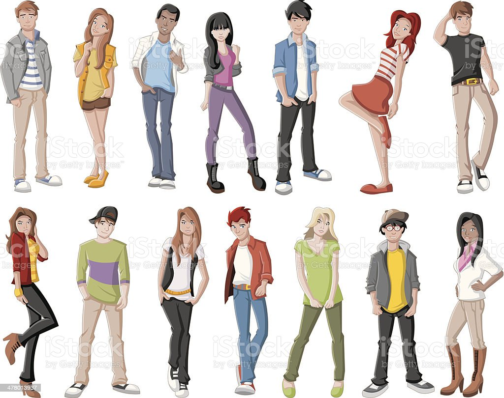 Teenagers. vector art illustration