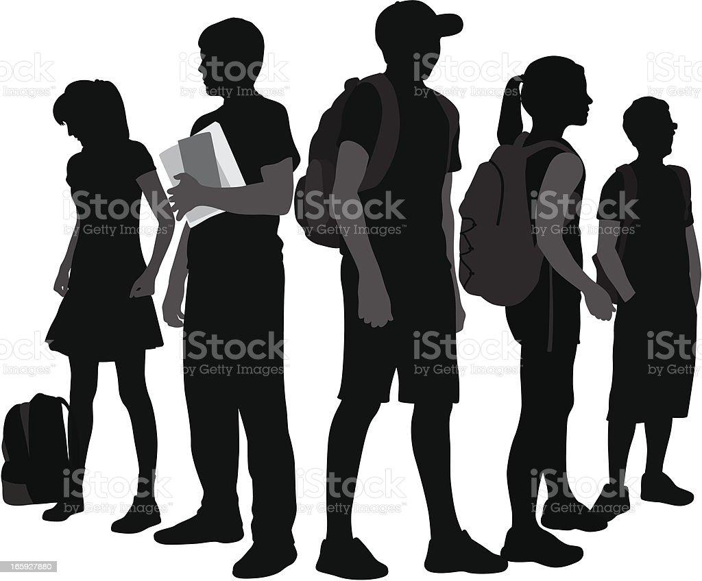 Teenagers Vector Silhouette vector art illustration