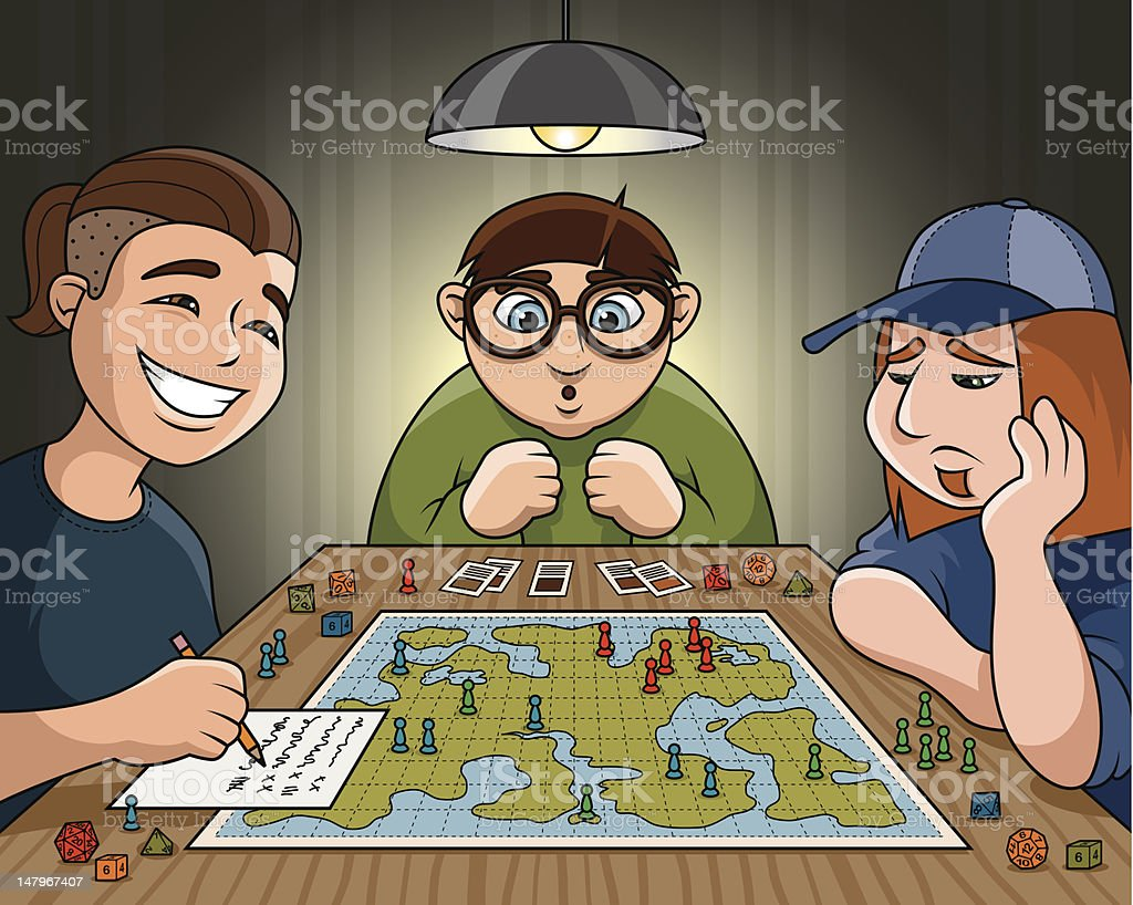 Teenagers with a Role Playing Game vector art illustration