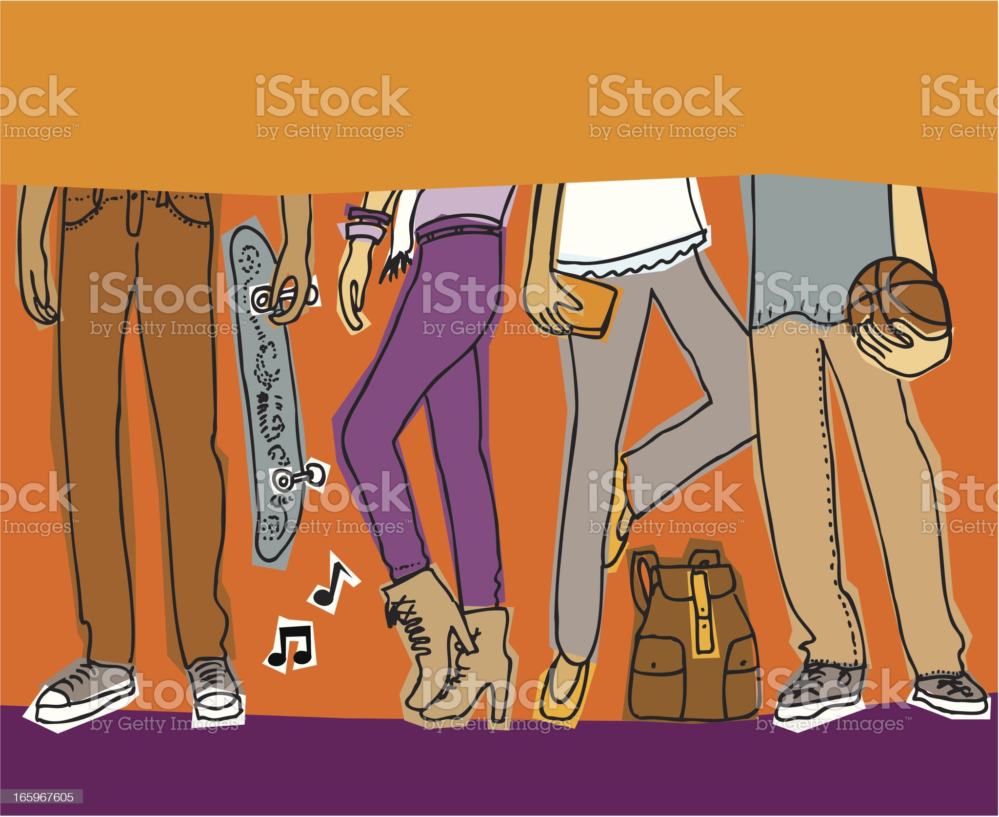 Teens Hanging Out royalty-free stock vector art