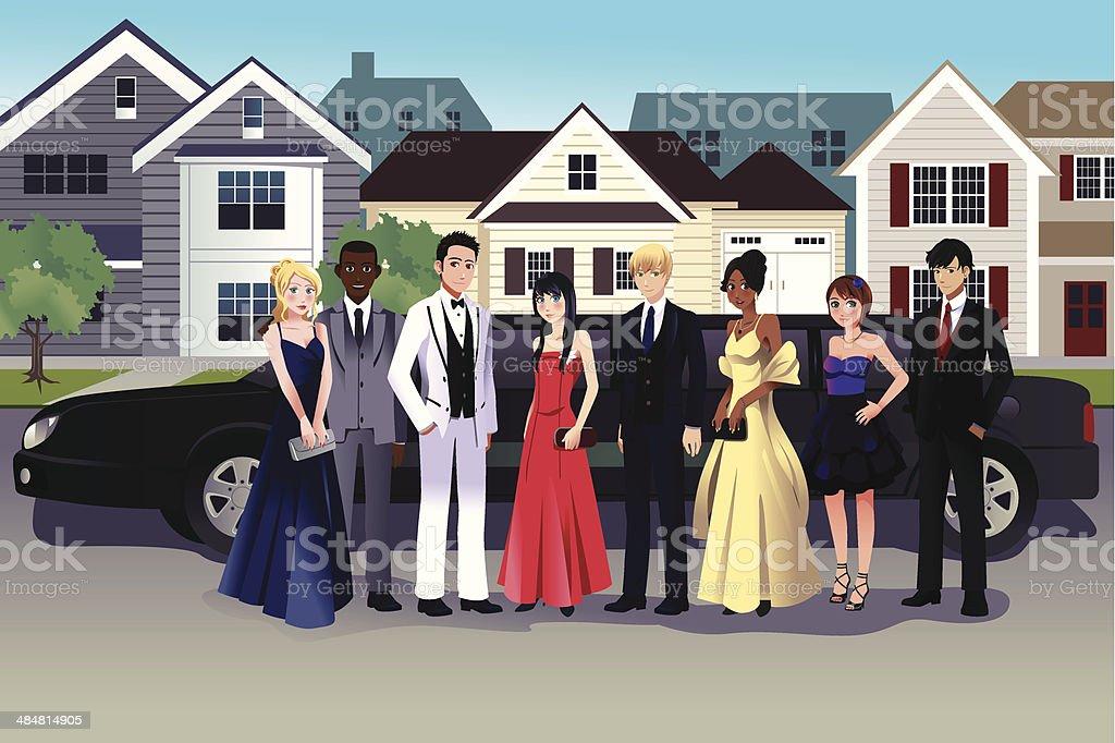 Teens in prom dress vector art illustration