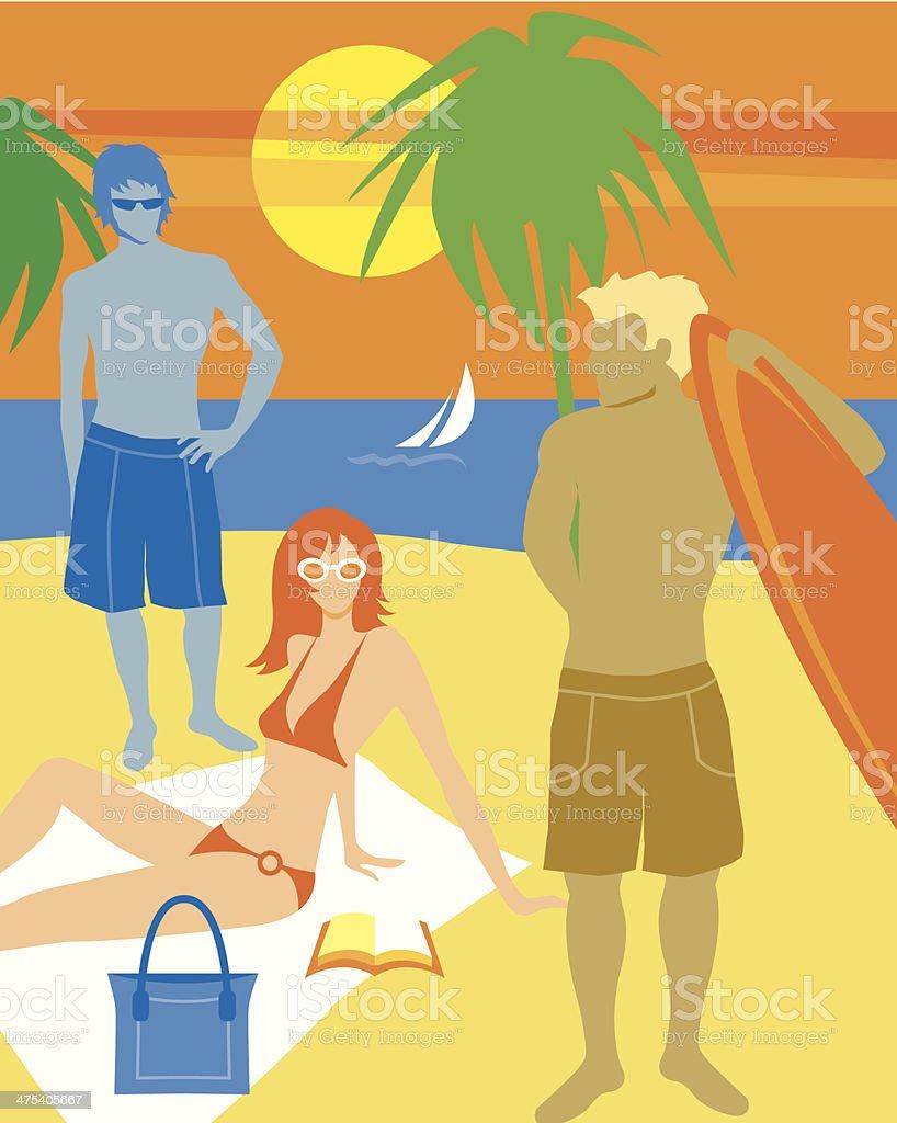 Teens On Beach C royalty-free stock vector art