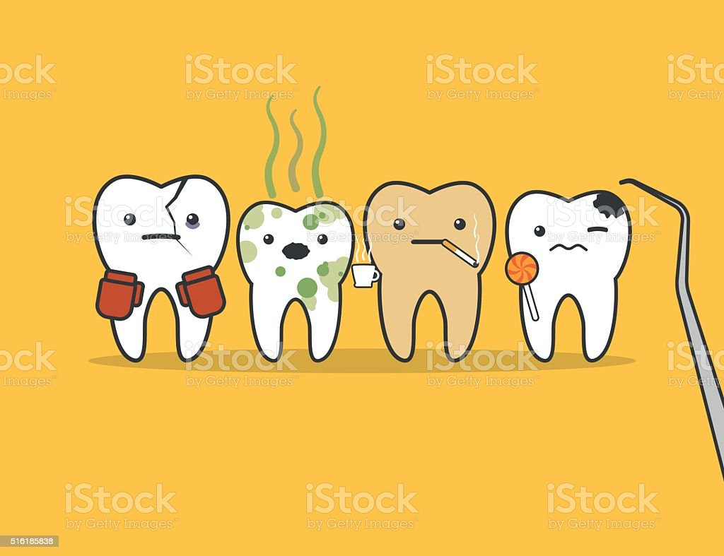 Teeth bad company. vector art illustration