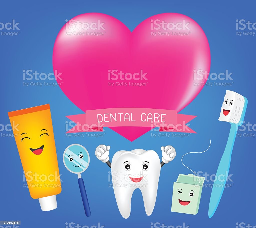 Teeth best friends with heart vector art illustration