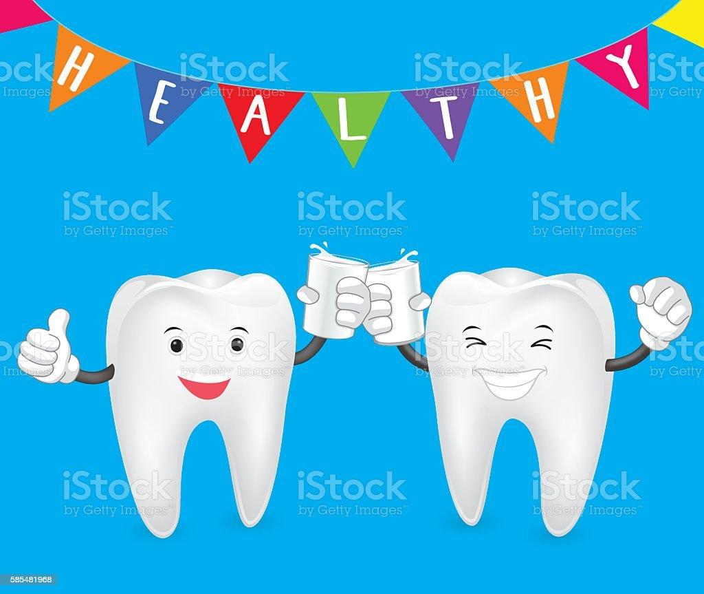 Teeth clink glasses vector art illustration