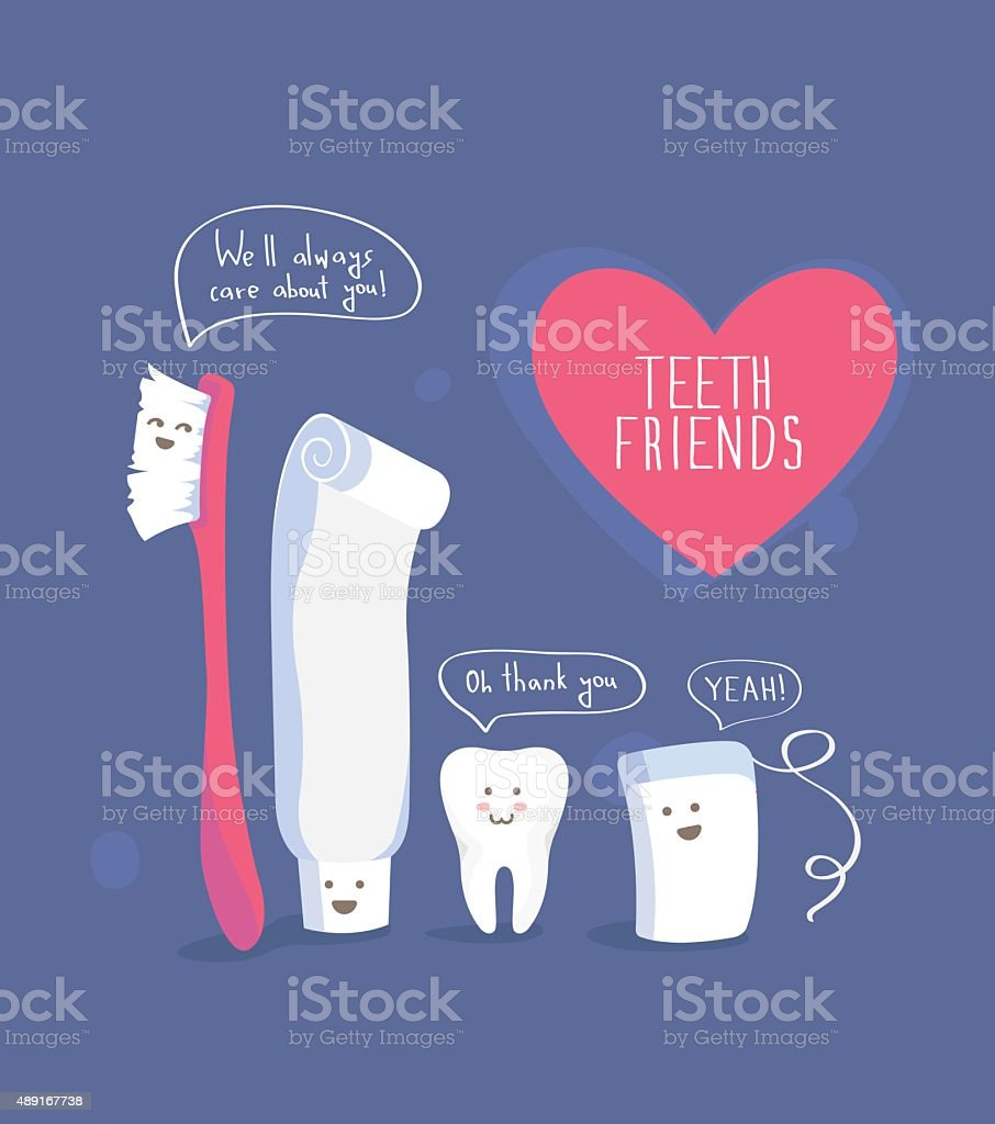 Teeth friends, healthy lifestyle vector vector art illustration