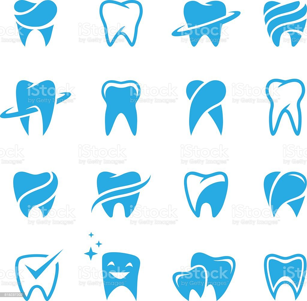 Teeth icon set isolated on white background vector art illustration