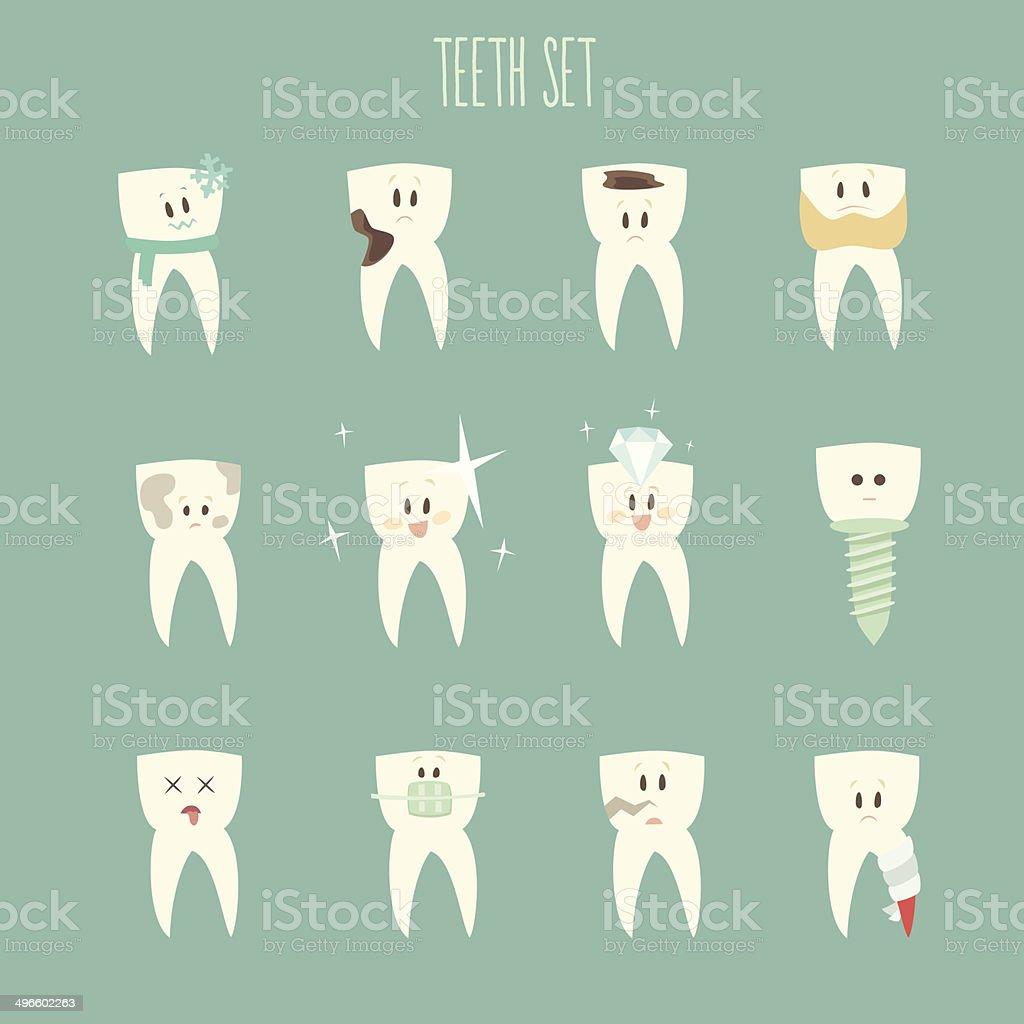 teeth  icon set, vector illustration, flat design vector art illustration