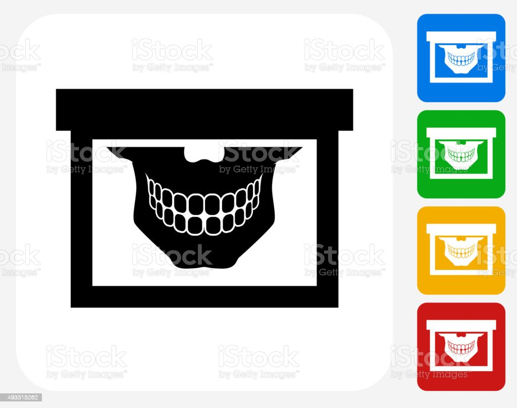 Teeth Scan Icon Flat Graphic Design vector art illustration