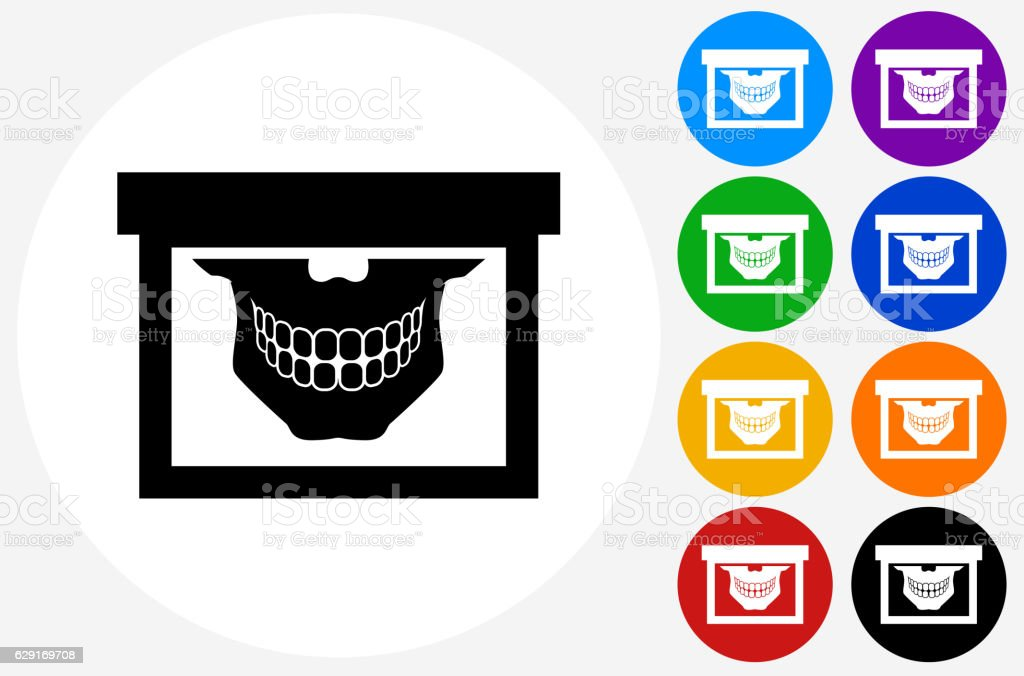 Teeth Scan Icon on Flat Color Circle Buttons vector art illustration