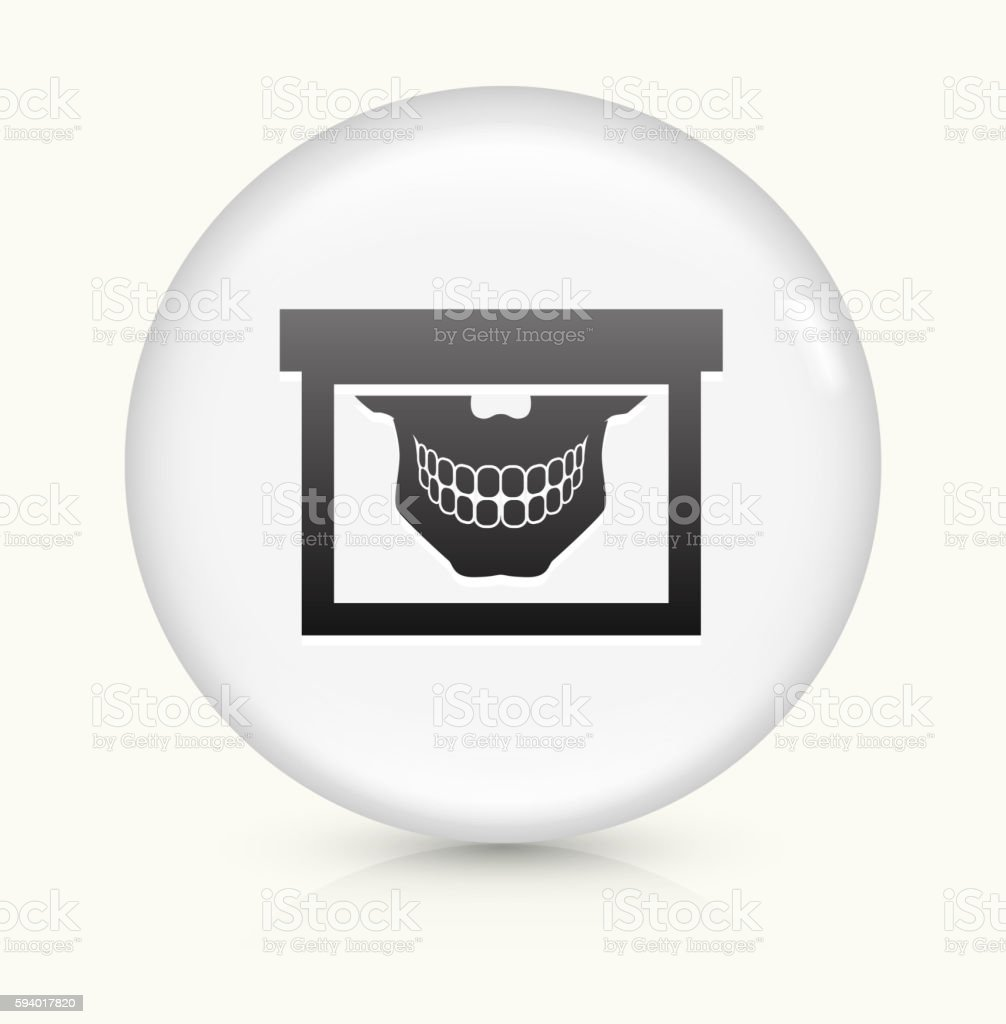 Teeth Scan icon on white round vector button vector art illustration