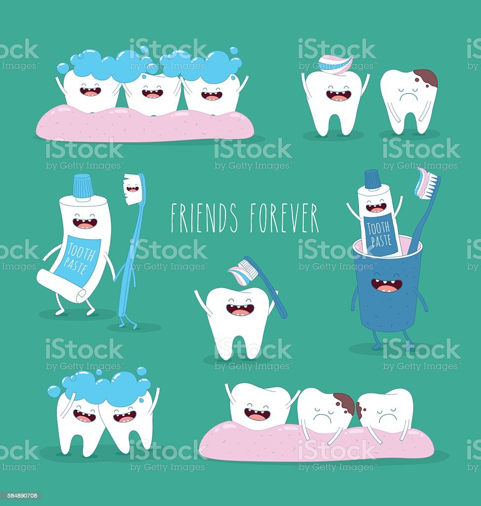 teeth set vector art illustration
