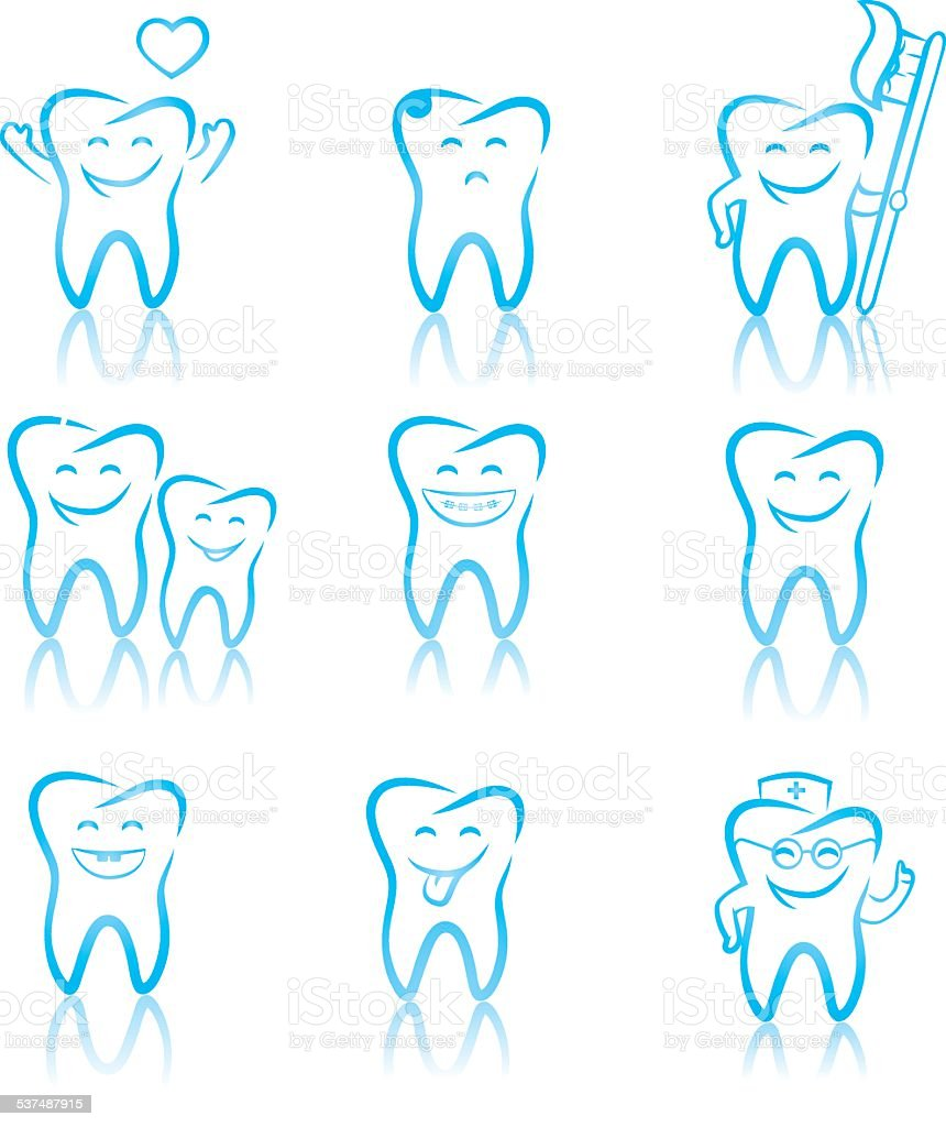 Teeth with character vector art illustration