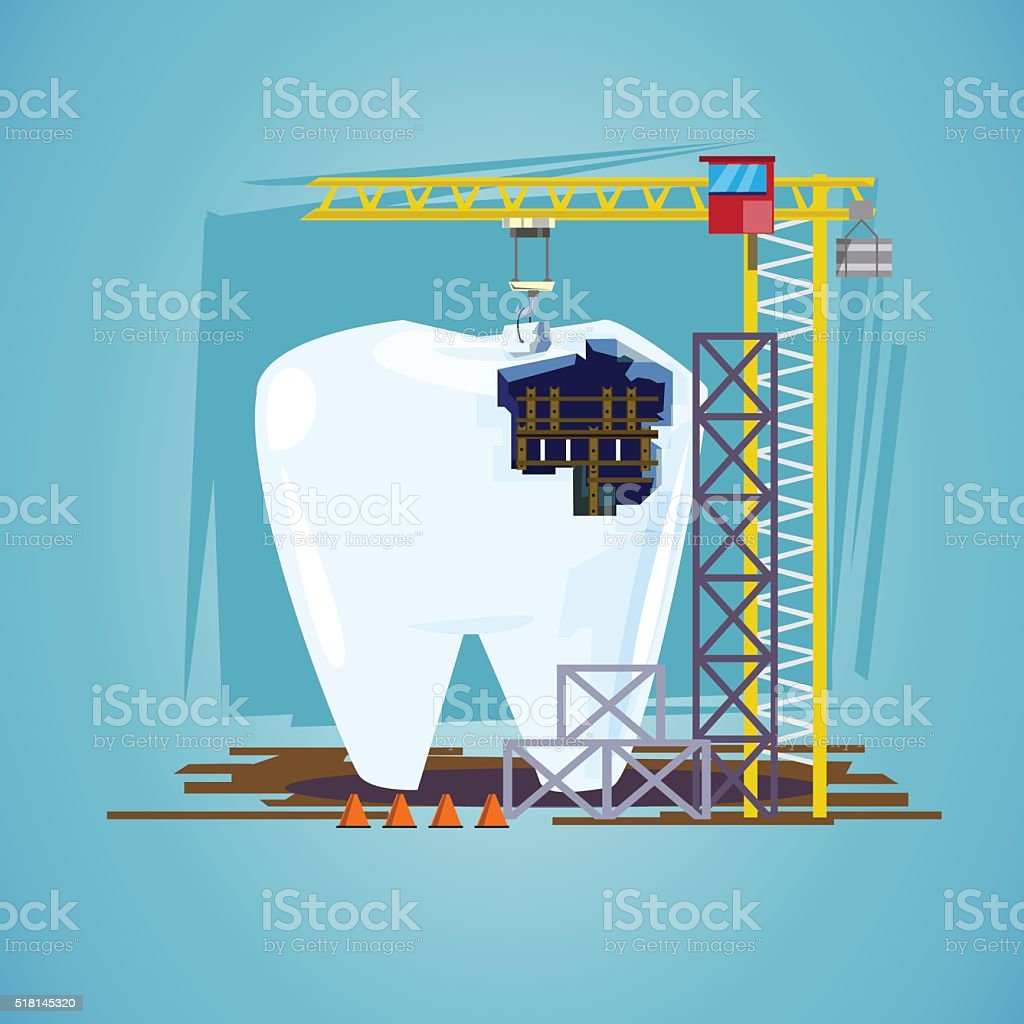 teeth with hoisting crane. treatment procedure, dental conceptual vector art illustration