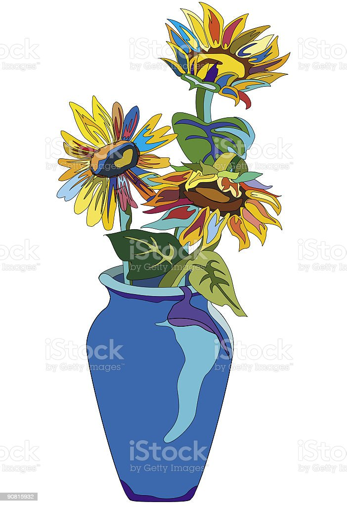Tehnicolor Sunflowers royalty-free stock vector art