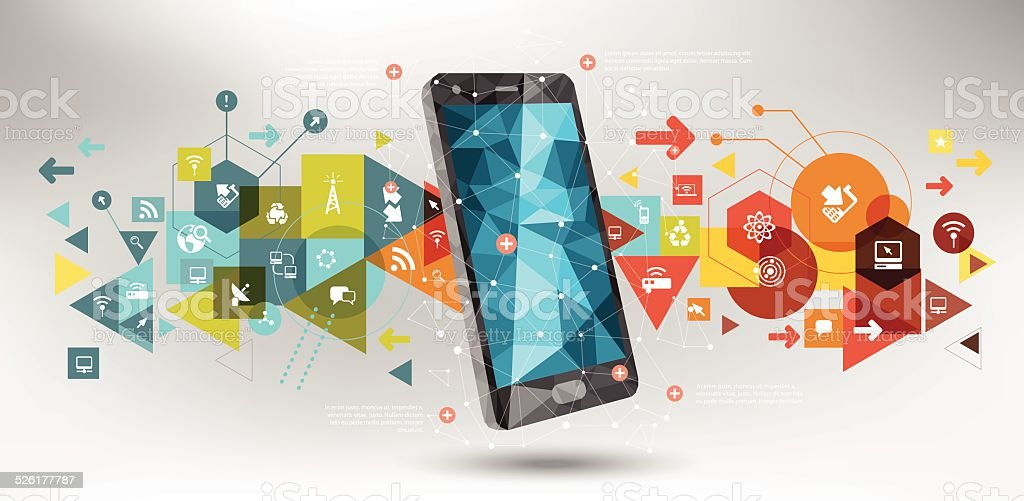 Telecom tech design vector art illustration