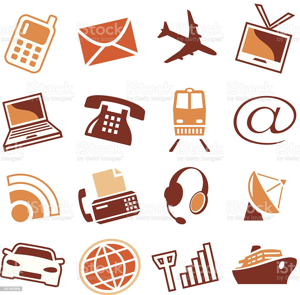 Telecom & icônes de transport stock vecteur libres de droits libre de droits