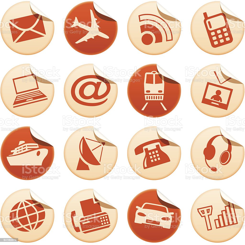 Telecom & transport stickers royalty-free stock vector art