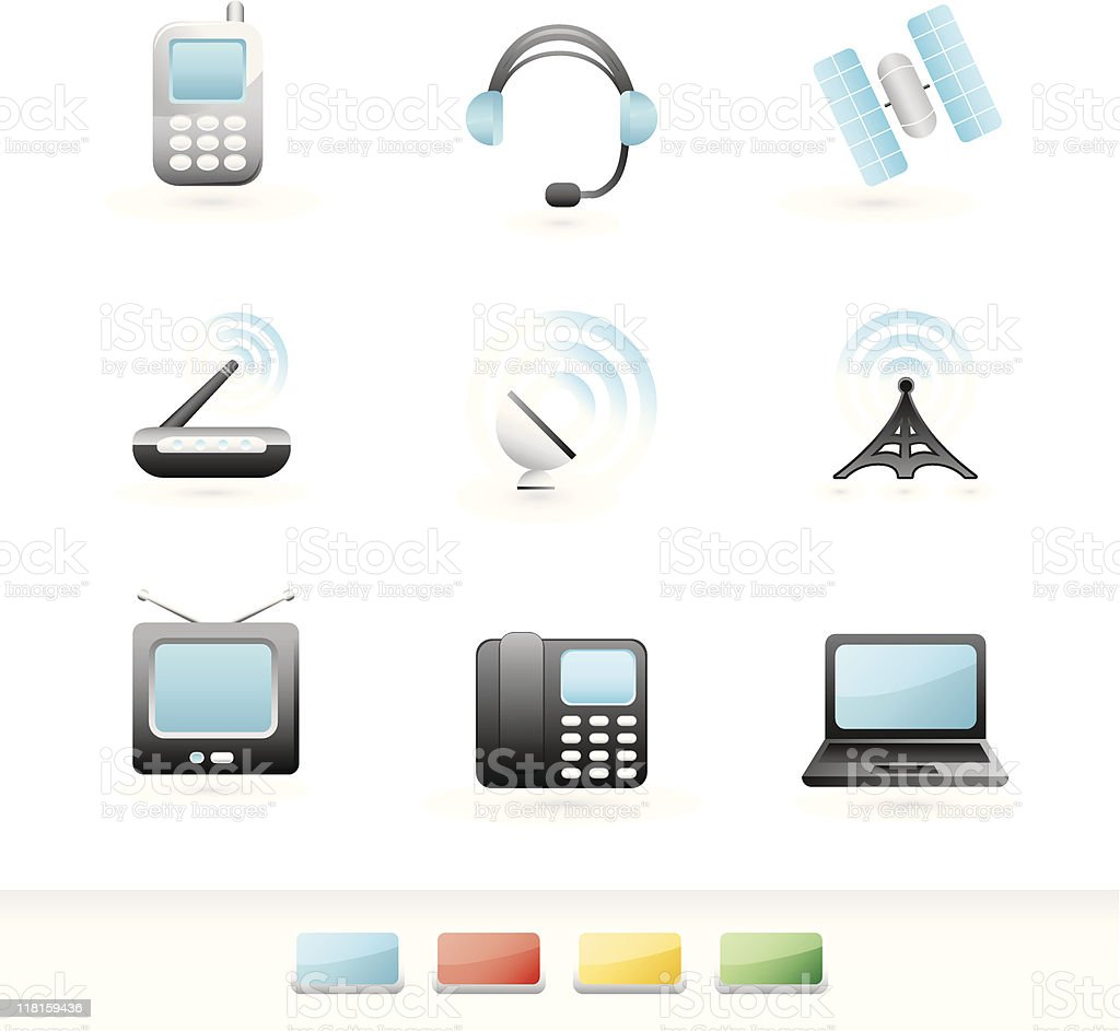 telecommunication icon set royalty-free stock vector art