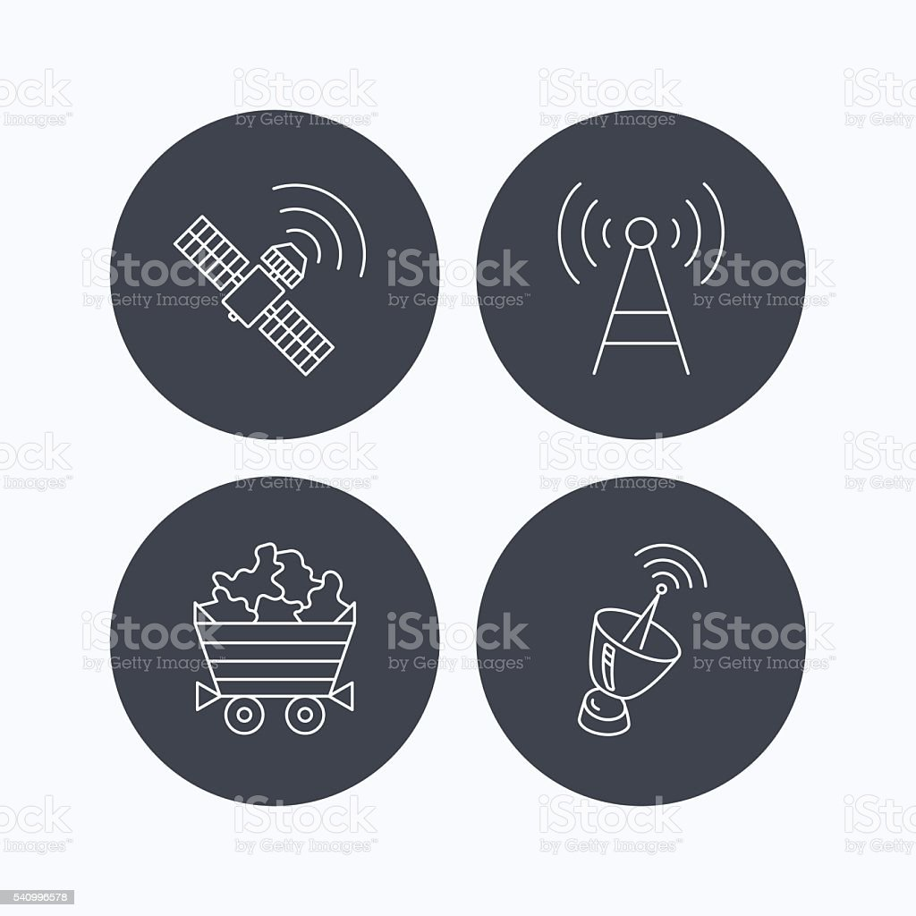 Telecommunication, minerals and antenna icons. vector art illustration