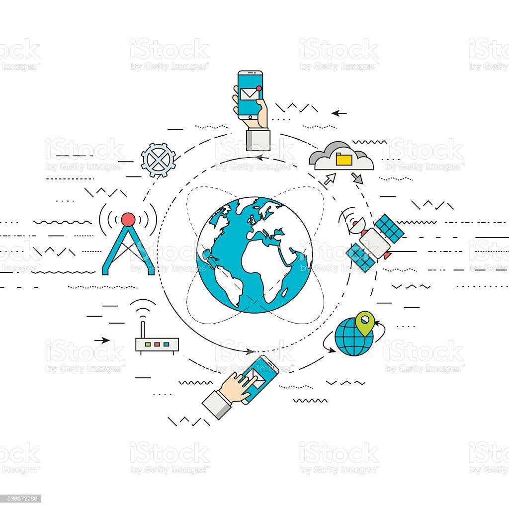 Telecommunication, mobile technology concept. vector art illustration