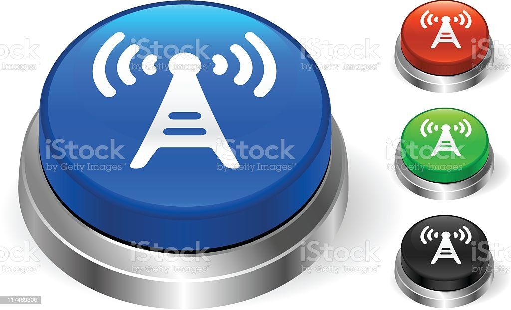 Telecommunication tower icon 3D push button royalty-free stock vector art