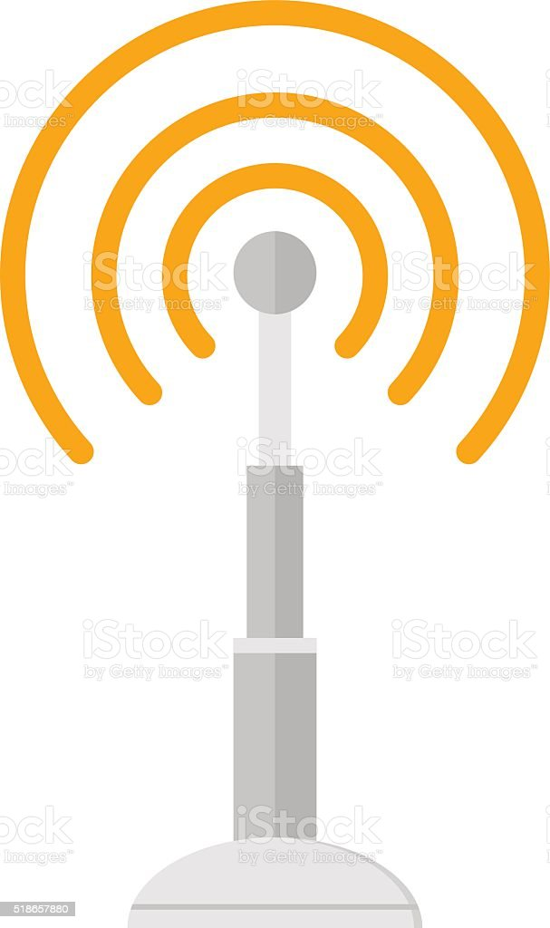Telecommunications radio antenna tower or mobile phone base station with vector art illustration