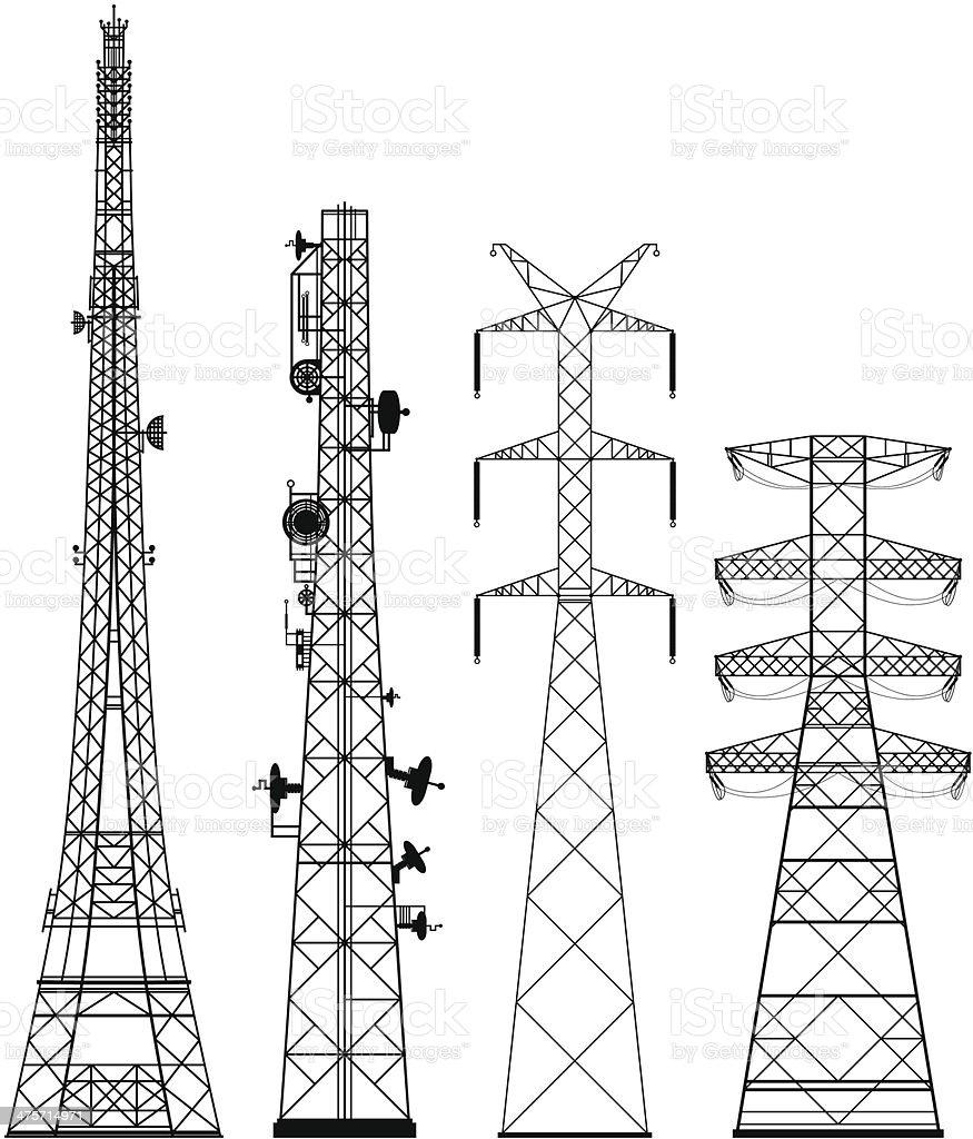 Telecommunications Towers vector art illustration