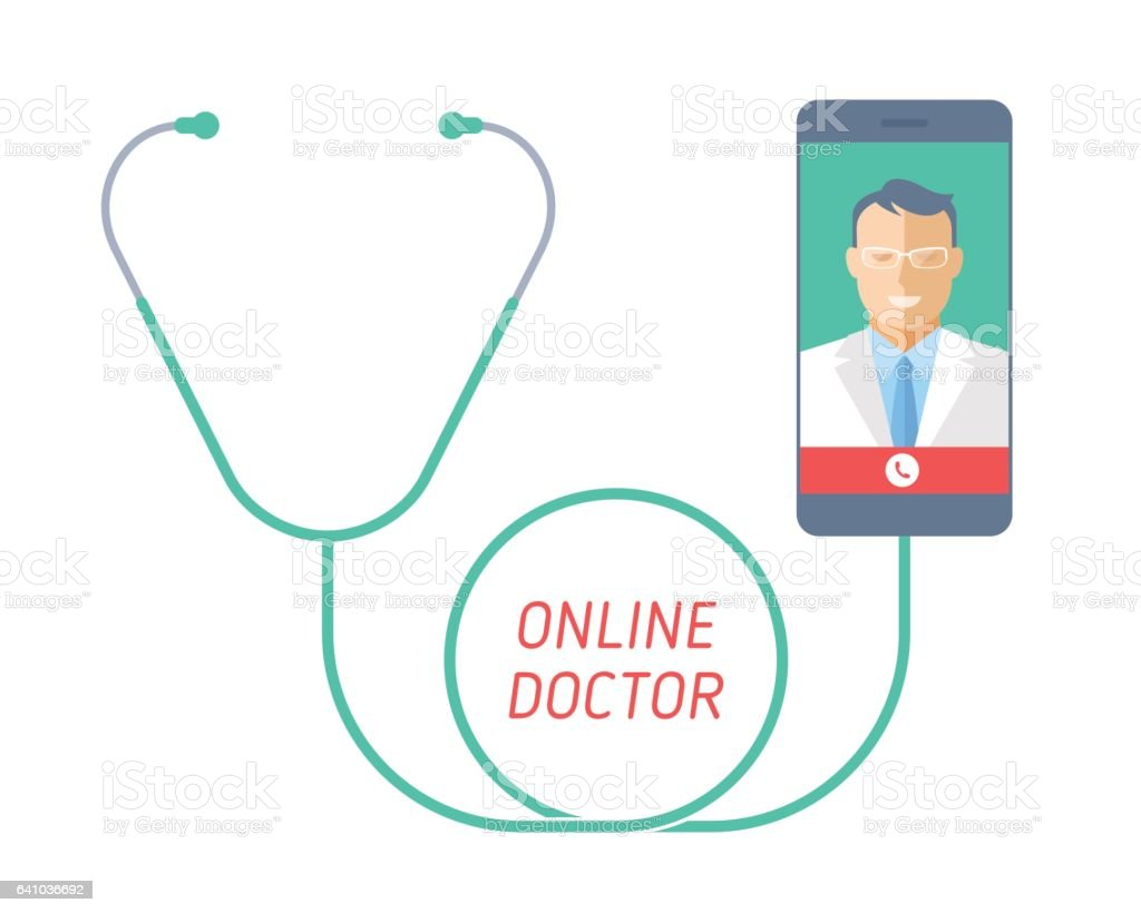 Telemedicine concept. Stethoscope with mobile phone, doctor on the screen. vector art illustration