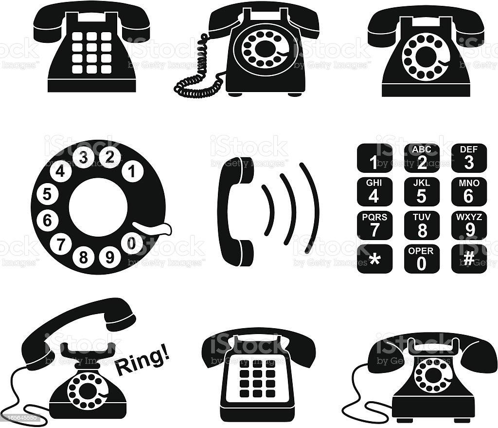 telephone icons vector art illustration