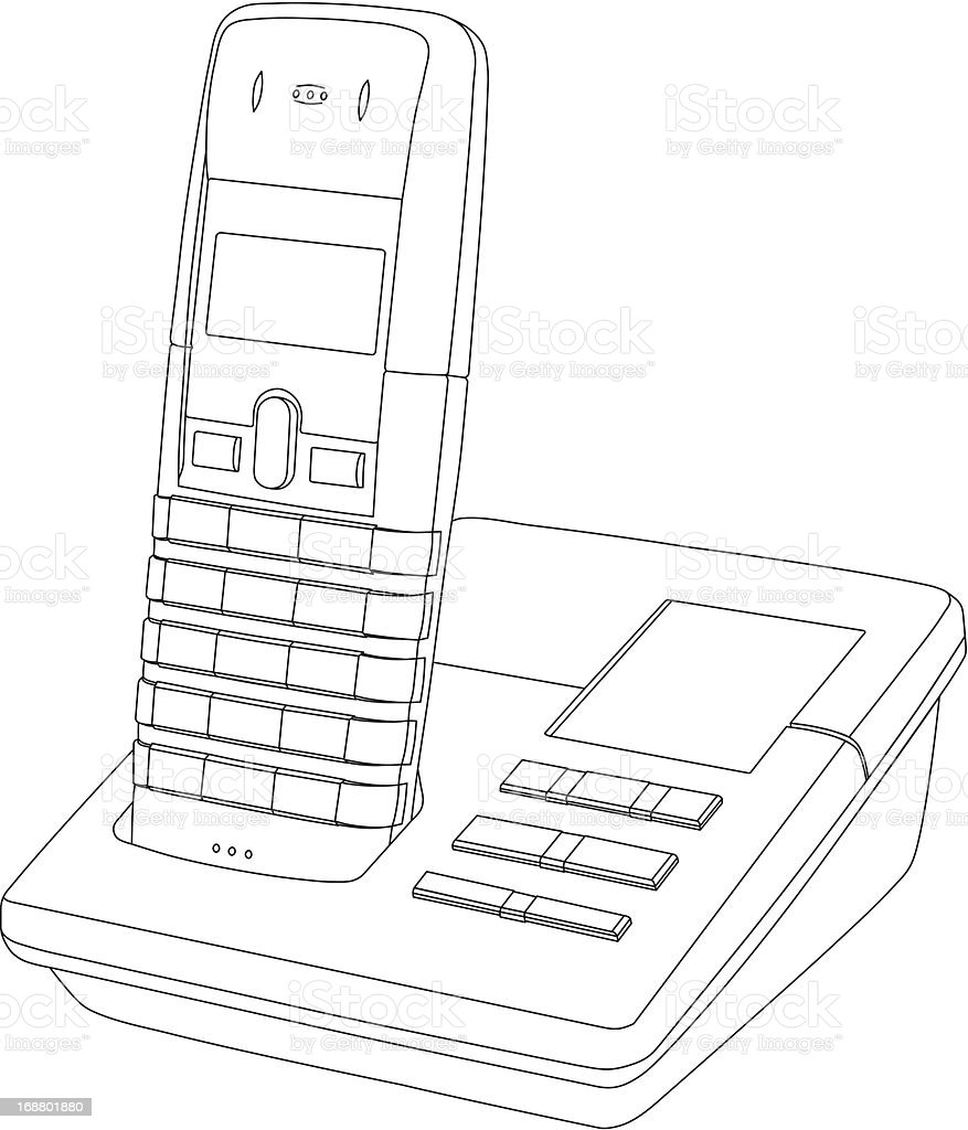 Telephone Line Drawing royalty-free stock vector art