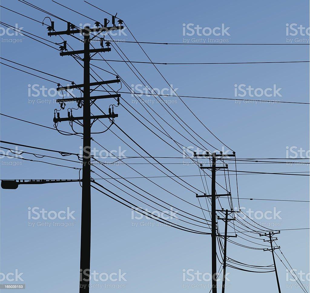 Telephone Poles & Lines (vector & Raster) royalty-free stock vector art