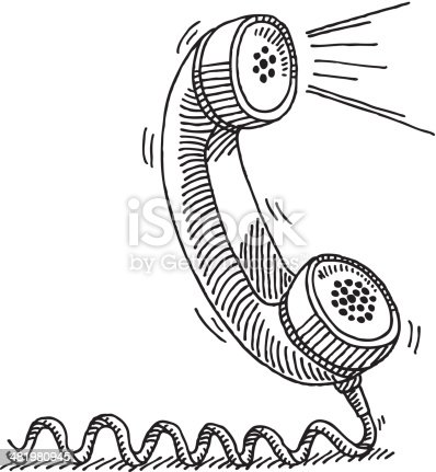 Telephone Receiver Active Voice Drawing stock vector art
