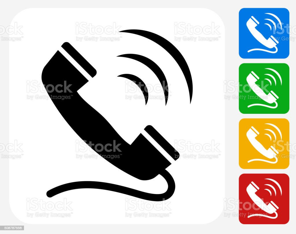 telephone ringing icon flat graphic design stock vector