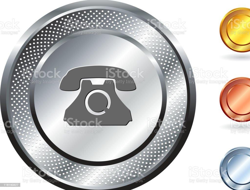 telephone royalty free vector art on metallic button royalty-free stock vector art