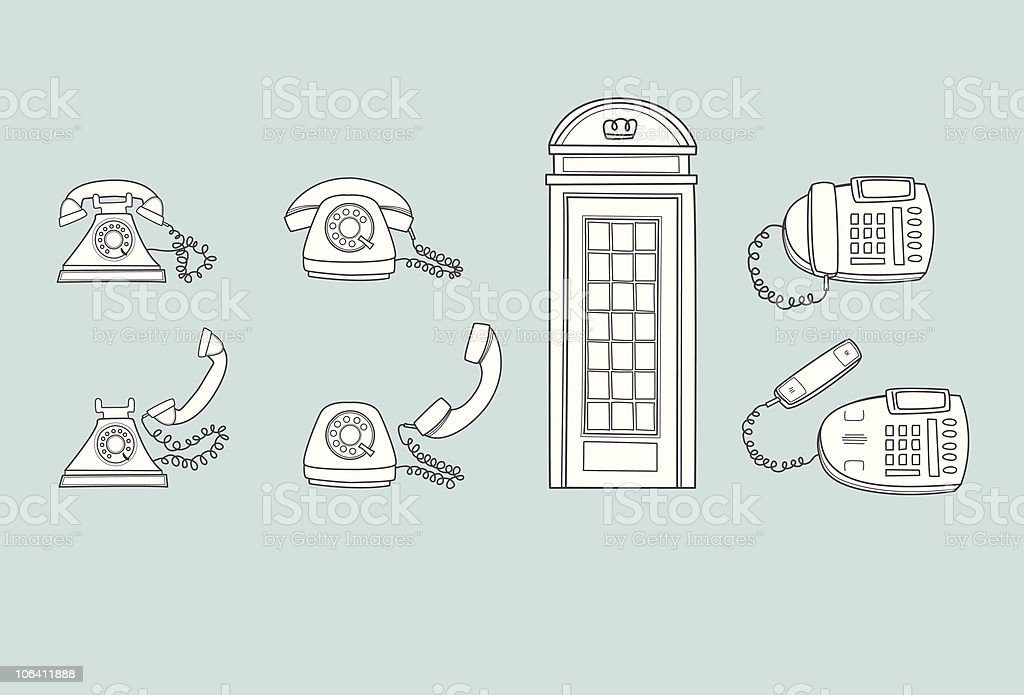 Telephones Old and New royalty-free stock vector art