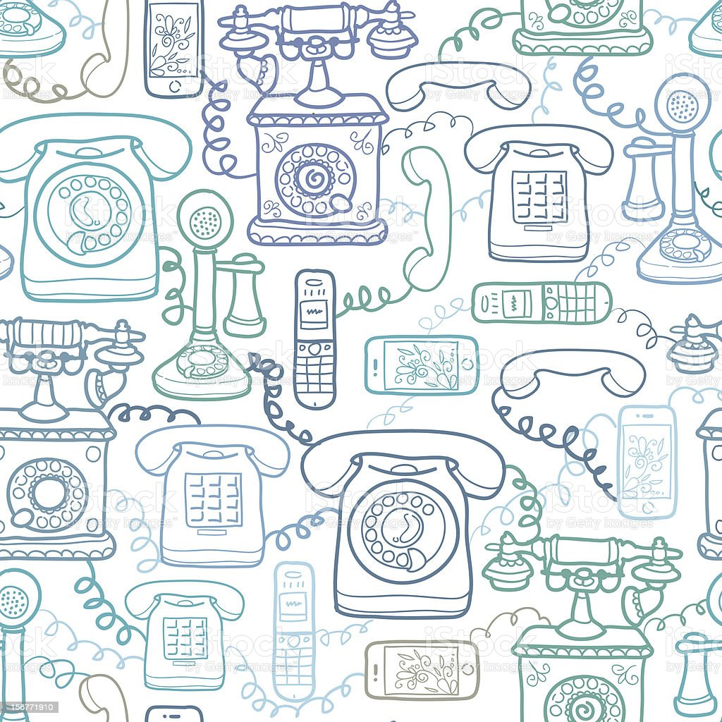 Telephones Seamless Pattern Background royalty-free stock vector art