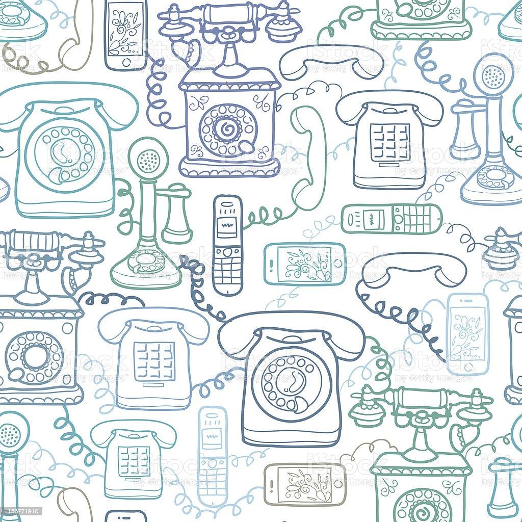 Telephones Seamless Pattern Background vector art illustration