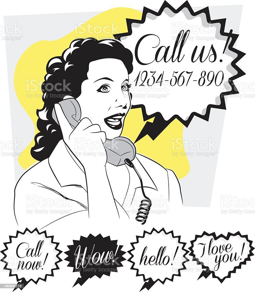 telephonist in retro royalty-free stock vector art